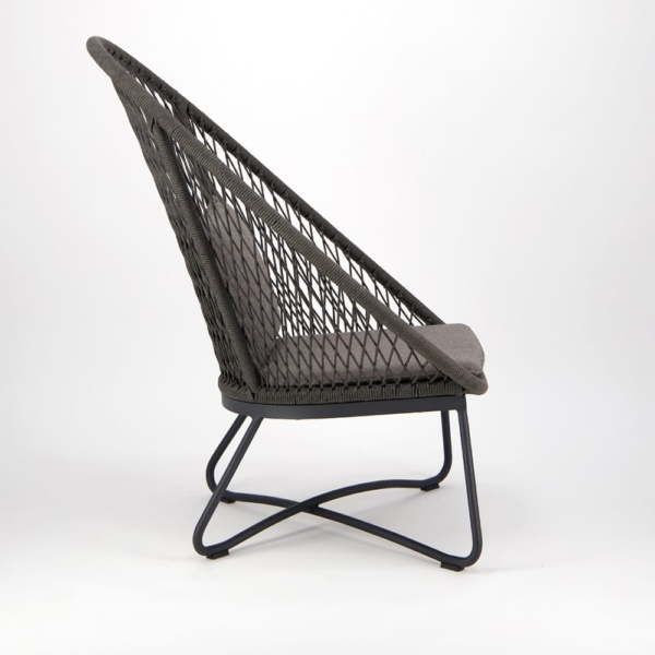 Zaha Outdoor Lounge Chair High Back Cross Weave - Side View