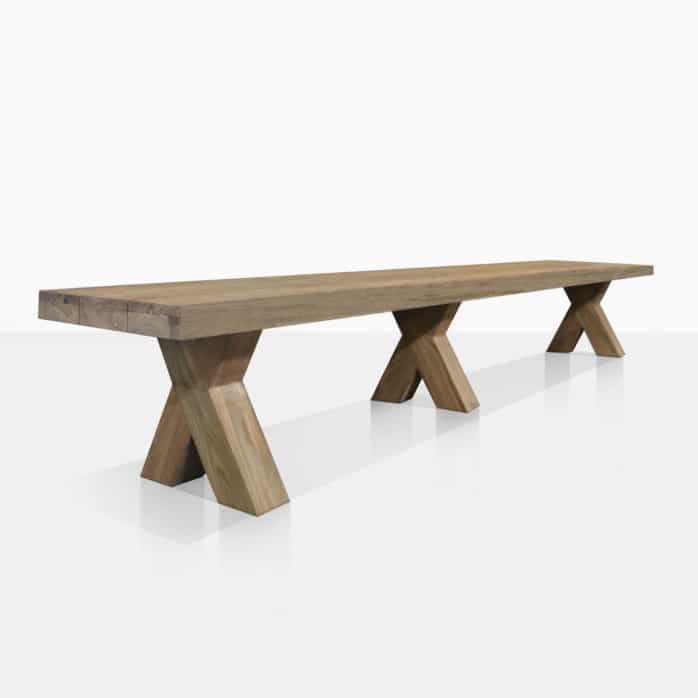 Boxx Reclaimed Teak Outdoor Bench - Angle View