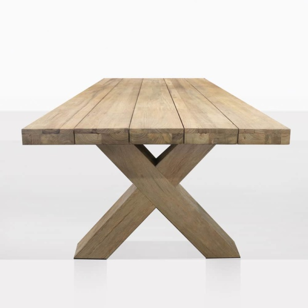Boxx Reclaimed Teak Outdoor Dining Table - End View