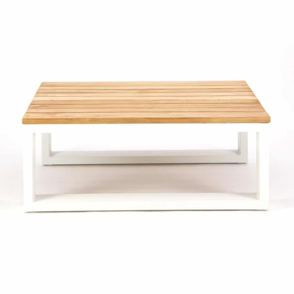 Beverly Aluminum Rectangle Side Table White - Front View