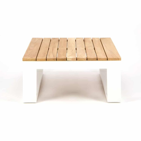 Beverly Aluminum Rectangle Side Table White - Side View