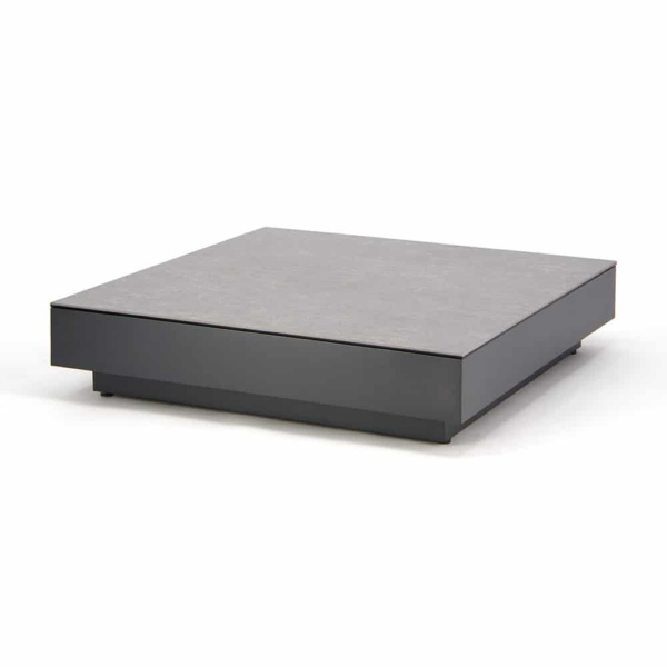 Crete Aluminium Outdoor Coffee Table Charcoal with Ceramic Top Concrete Look - Angle View ZCT4119