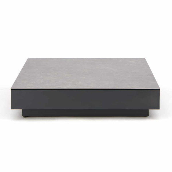 Crete Aluminium Outdoor Coffee Table Charcoal with Ceramic Top Concrete Look - Front View ZCT4119