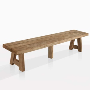 hunger reclaimed teak bench angle view