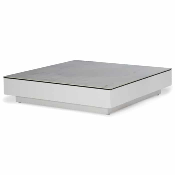 crete aluminium low coffee table white marble look top angle view