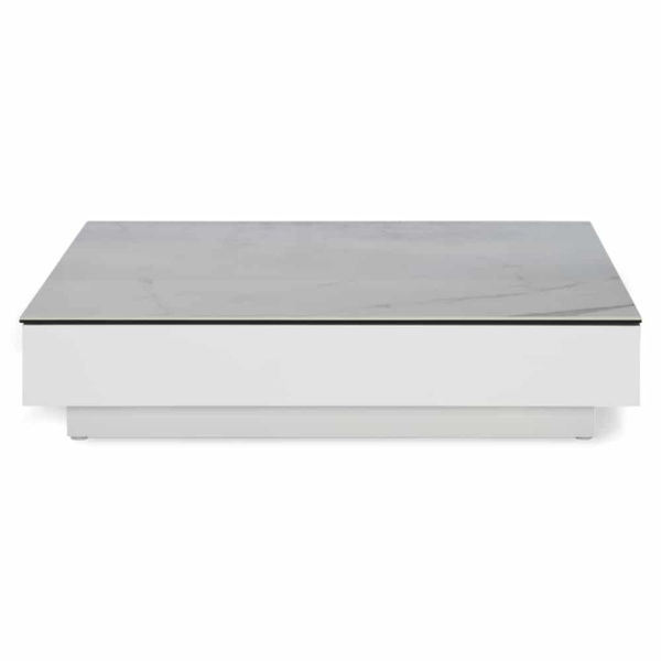 crete aluminium low coffee table white marble look top side view