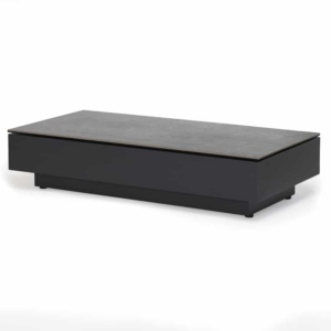 crete aluminium coffee table charcoal concrete look top angle view