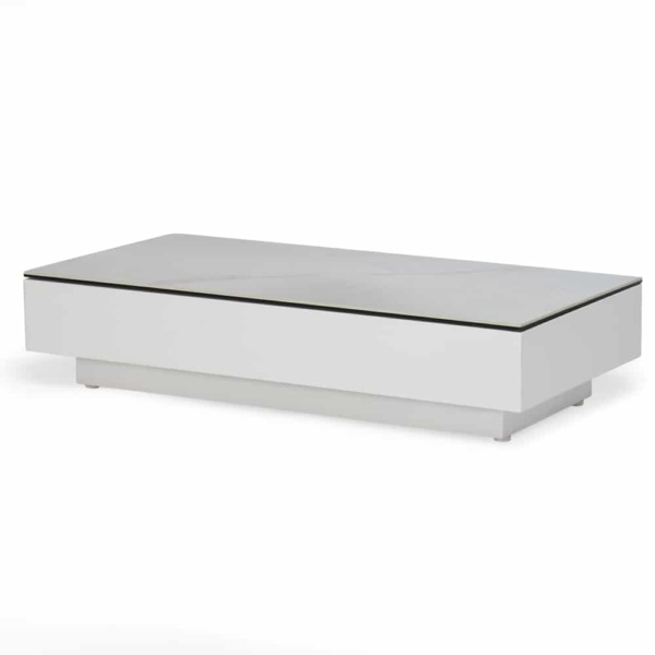 crete aluminium small coffee table white marble look top angle view