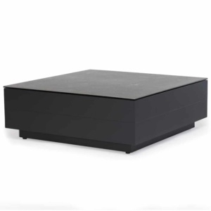 crete aluminium tall coffee table charcoal concrete look top angle view