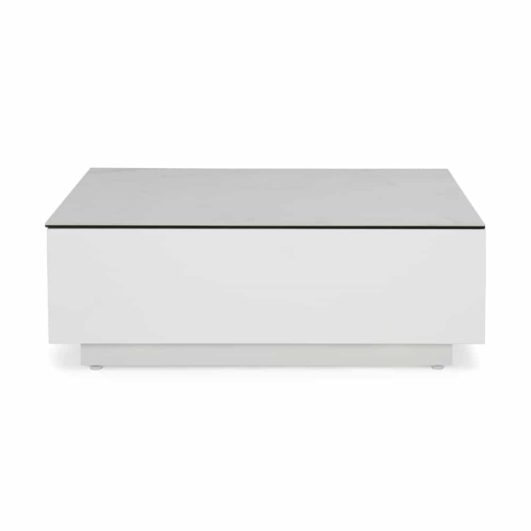 crete aluminium tall coffee table white marble look top side view