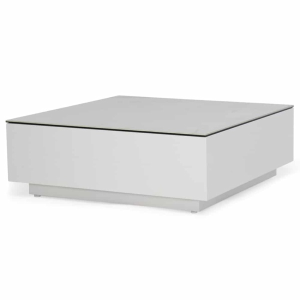 crete aluminium tall coffee table white marble look top angle view