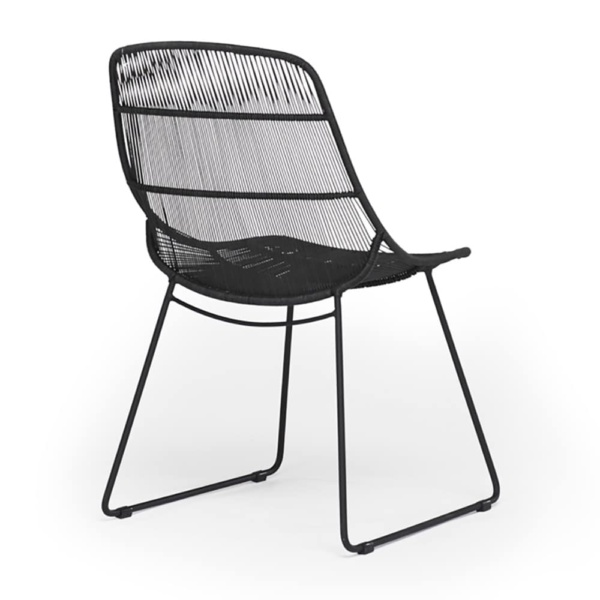 Oliver Outdoor Wicker Dining Side Chair in Black - Rear View