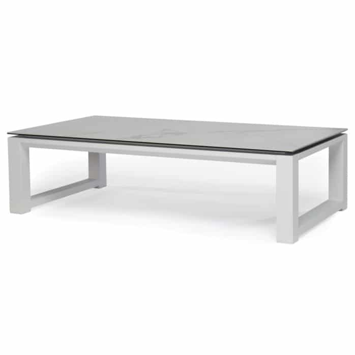 paros aluminium coffee table white marble look top angle view