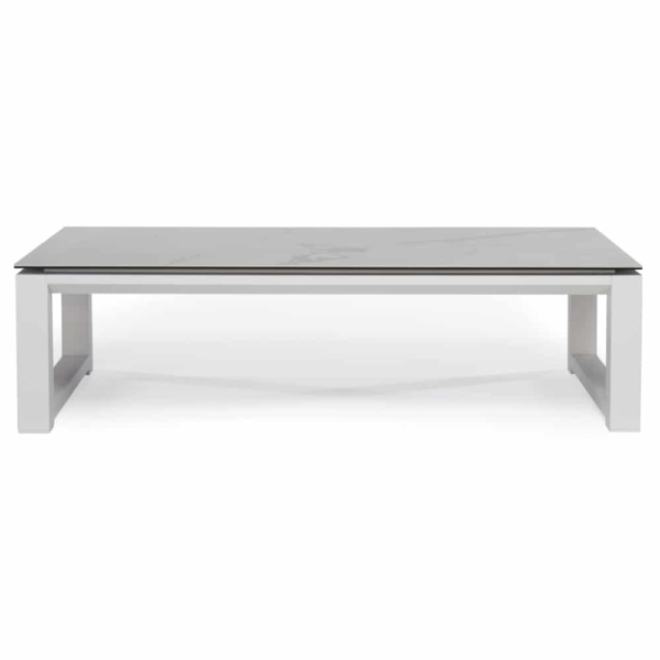 paros aluminium coffee table white marble look top side view