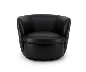 Bellagio swivel armchair kalahary black leather - front view