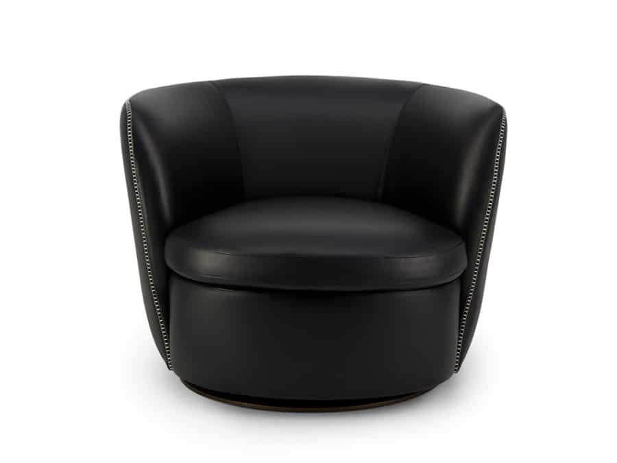 Bellagio swivel armchair kalahary black leather - front view