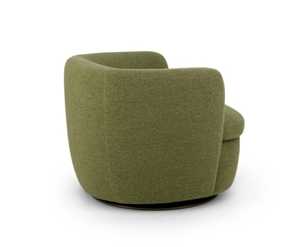 Bellagio swivel armchair perseide in olive green - back view