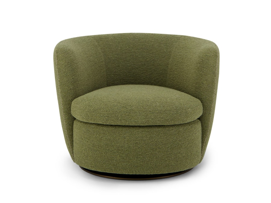 Bellagio swivel armchair perseide olive green - front view