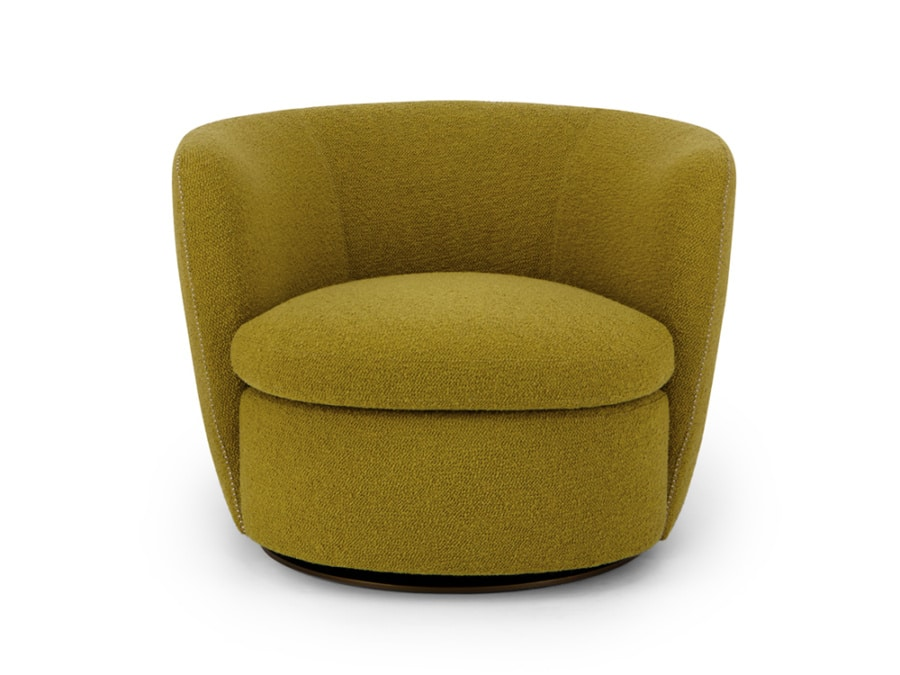 Bellagio swivel armchair perseide mustard - front view