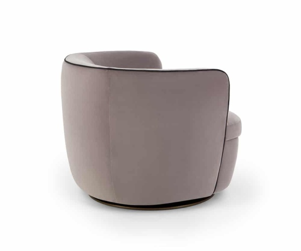 Bellagio swivel armchair velvet grey - back view