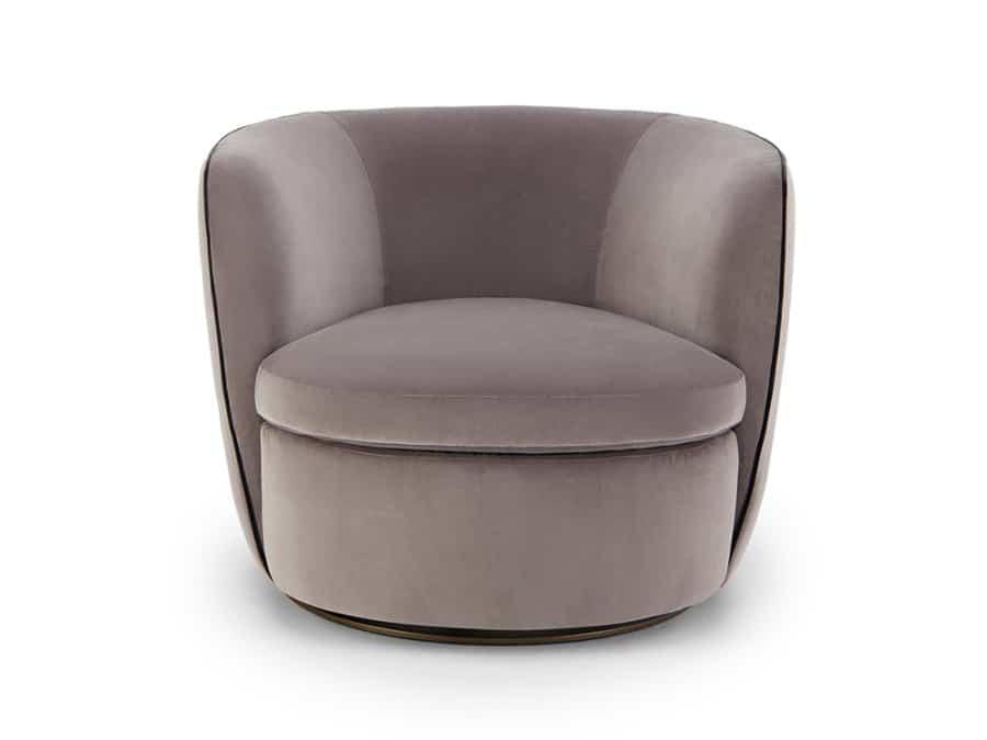 Bellagio swivel armchair velvet grey - front view
