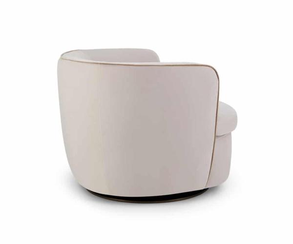 Bellagio swivel armchair velvet cream - back view