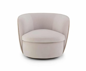 Bellagio swivel armchair velvet cream - front view