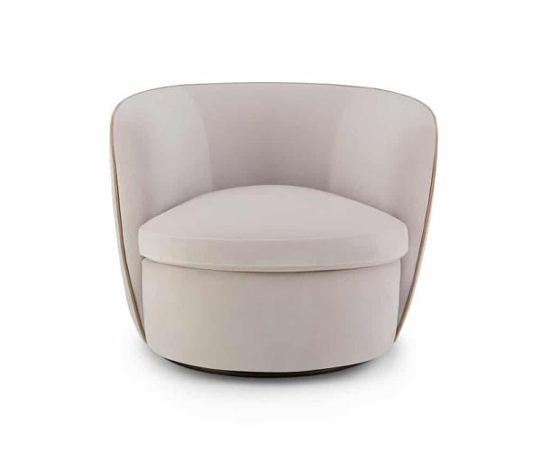 Bellagio swivel armchair velvet cream - front view