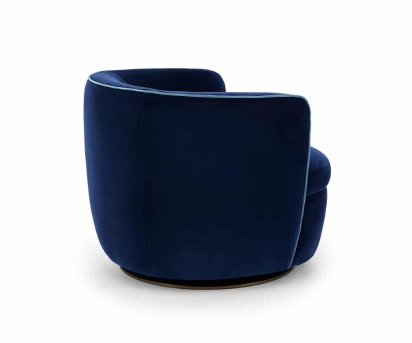 Bellagio swivel velvet armchair deep blue - back view