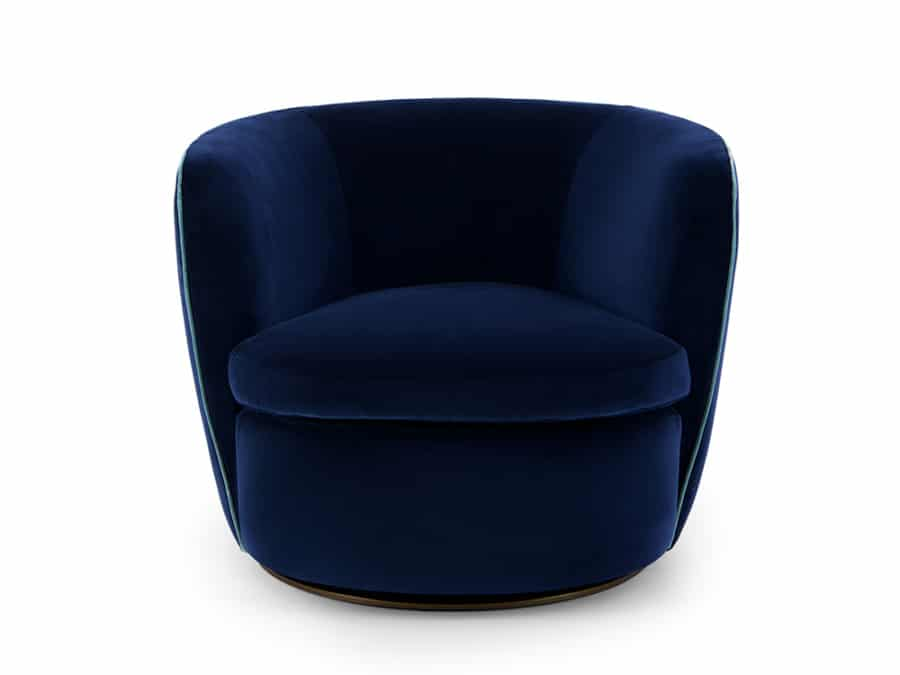 Bellagio indoor relaxing swivel chair - deep blue colour