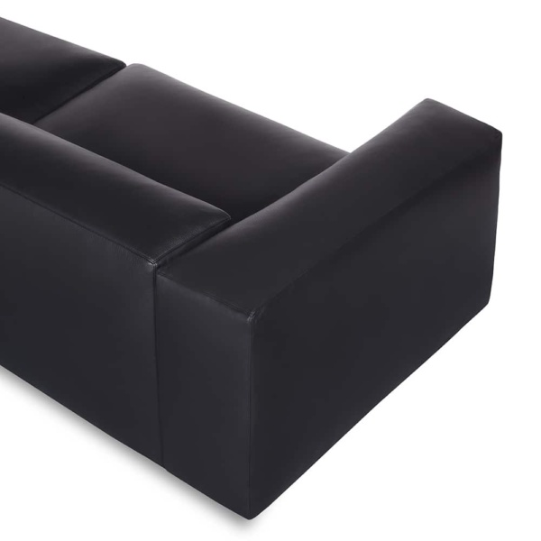 Capri sectional kalahary black leather - arm view
