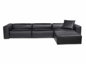 Capri sectional kalahary black leather - front view