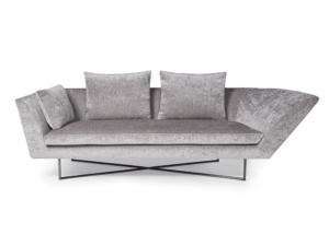 Little wing low sofa curved left arm - sicilia steel - front view