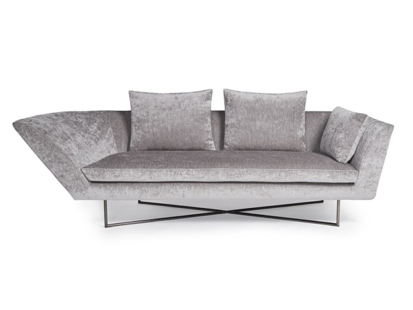 Little wing low sofa curved right arm with steel frame - front view