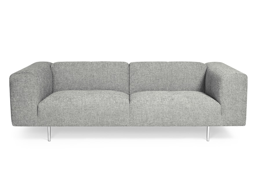 Milano sofa lucca light grey - front view