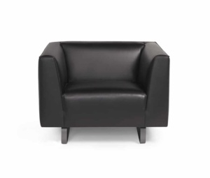 Modena small armchair kalahary black leather - front view