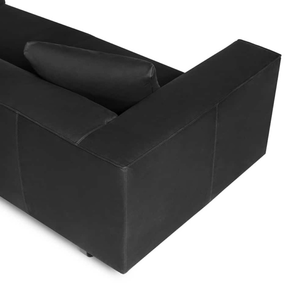 Modena sofa luxury black leather - arm view