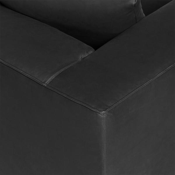 Modena sofa luxury black leather - closeup view