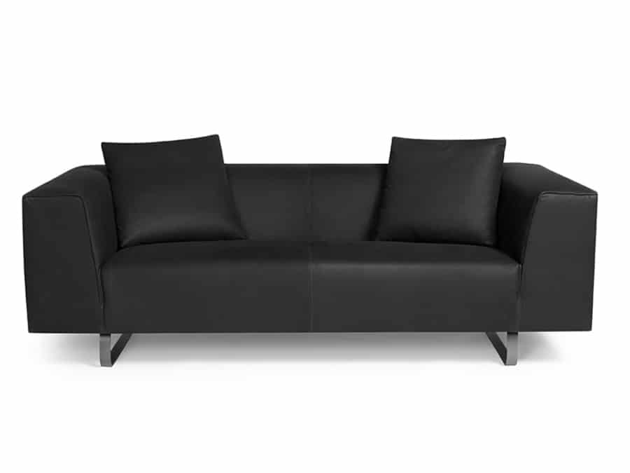 Modena sofa luxury black leather - front view