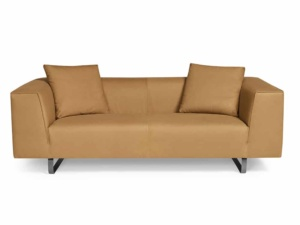 Modena sofa luxury tan leather - front view