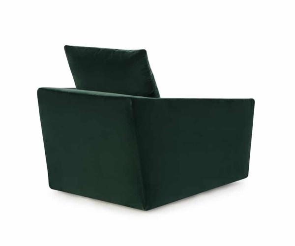 Ponza swivel armchair velvet dark green - back view