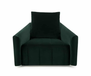 Ponza swivel armchair velvet dark green - front view