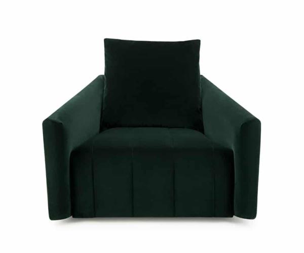 Ponza swivel armchair velvet dark green - front view