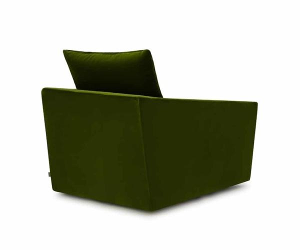 Ponza swivel armchair velvet green - back view