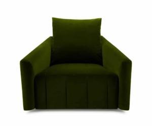 Ponza swivel armchair velvet green - front view