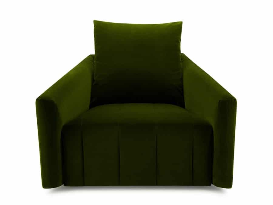 Ponza swivel armchair velvet green - front view