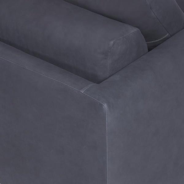 Prezioso sofa leather luxury blue - closeup view
