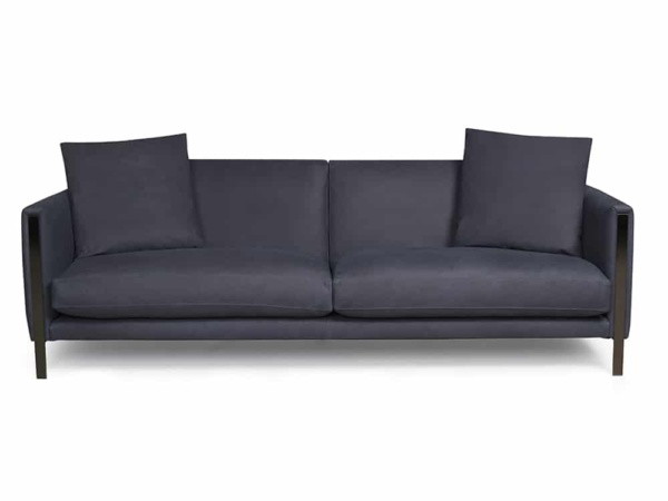 Prezioso sofa leather luxury blue - front view