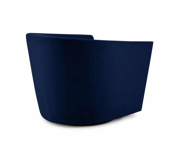 Roma swivel armchair velvet maleo lario deep blue - back view