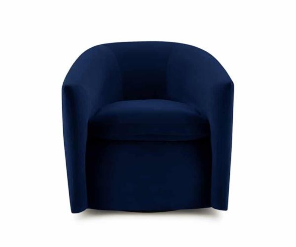 Roma swivel armchair velvet maleo lario deep blue - front view